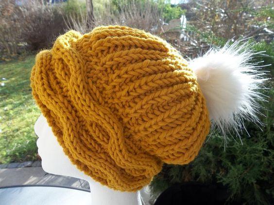 Warme Damenmütze Curryfarben von der woll-loewe auf DaWanda.com