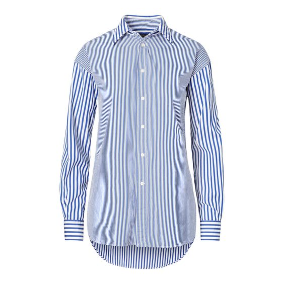 Contrasting stripes put a playful twist on the broadcloth button-down in this version with a borrowed-from-the-boys fit.