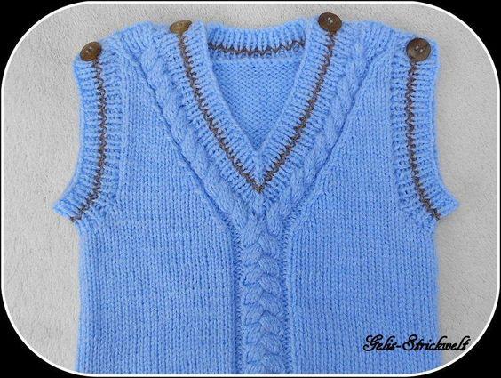 Pullunder 62/68 hellblau/braun handgestrickt von Gelis-Strickwelt auf DaWanda.com