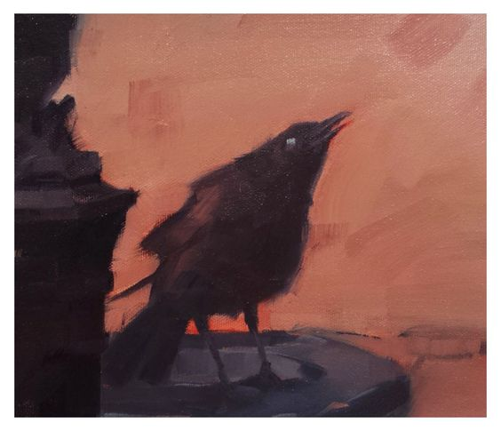 Painting study of a crow. Oil on board.