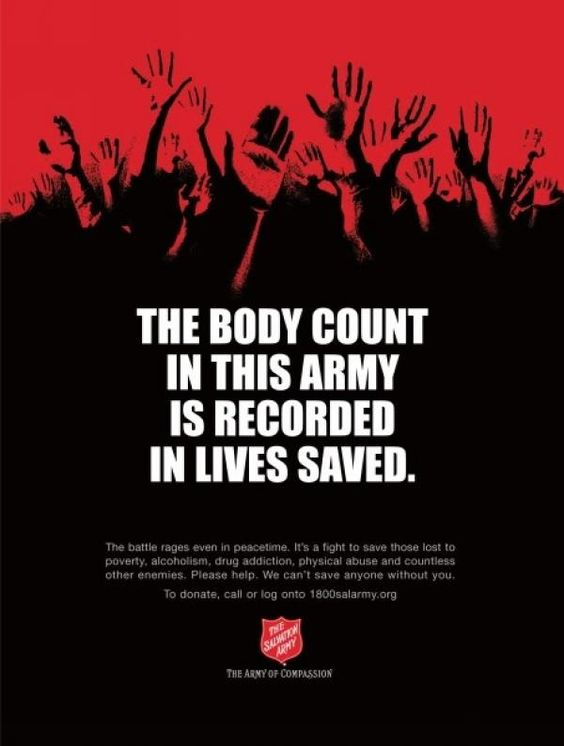 BODY COUNT, Wunderman Detroit, The Salvation Army, Print ...