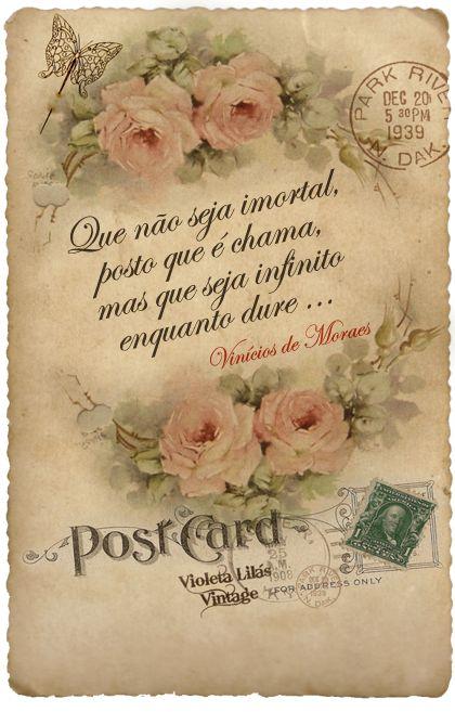 Cartão Namorados Vintage - Série Flores: