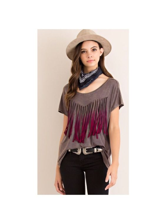 """COMING SOON: """"Midwest Swing"""" charcoal jersey top featuring ombré fringe detailing. For all my local girls, this is a super festive DB piece."""