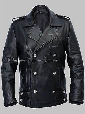 Para Hombres Alemán Naval Militar Chaquetón Negro Chaqueta De Cuero Genuino Cuero de vaca in Clothes, Shoes & Accessories, Men's Clothing, Coats & Jackets   eBay