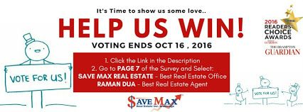 VOTING ENDS AT 5PM TODAY!! We need your help to win The Brampton Guardian Reader's Choice Award! If you ❤️ Save Max, we'd appreciate you taking a minute to help us win. Just click here to cast your vote! http://www.bramptonguardian.com/readerschoice Save Max Real Estate - Google+