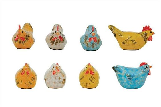 Ceramic Chicken, 2 Styles, 4 Colors Set of 24