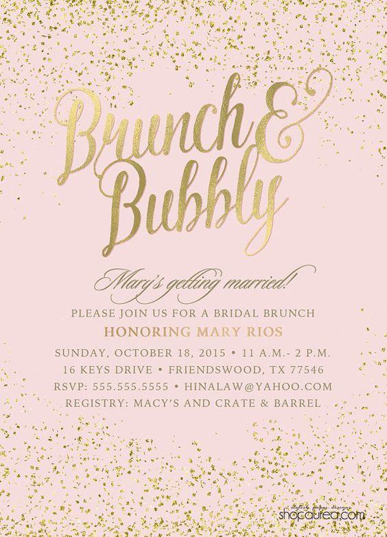 Brunch & Bubbly Bridal Shower Invitations - Blush and Glitter - Gold Foil - Gold Confetti - Bridal Brunch - Bride