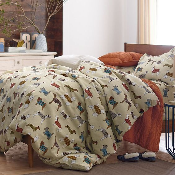 Walk The Dog Flannel Sheets&Bedding Set | The Company Store: Dachshunds Uvu, Dog Flannel, Bedding Flannel, Dog Bedding, Duvet Cover, Bedroom Decorating
