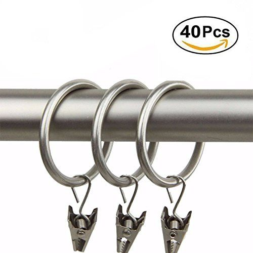 Ginbel Direct 40pack Silver Metal Heavyduty Drapery Curtain Rings