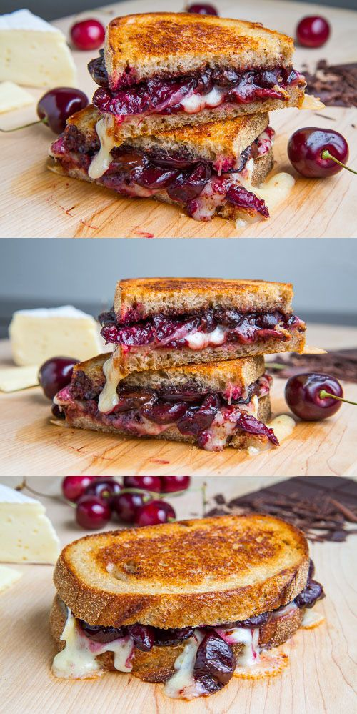 Balsamic Roasted Cherry, Dark Chocolate and Brie Grilled Cheese Sandwich.... Late night snack or... Hello chocolate for breakfast! It's wickedly good!