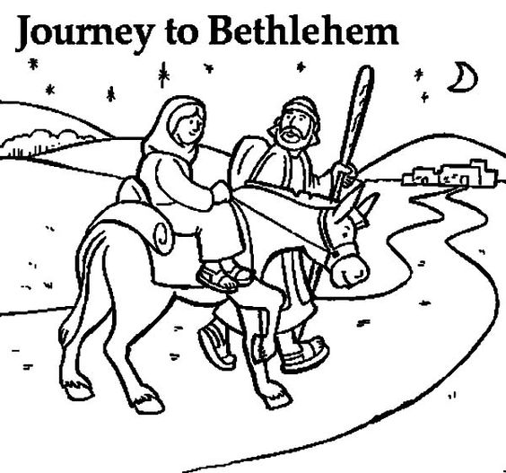 Mary and the donkey joseph journey to bethlehem coloring for Idea door journey to bethlehem