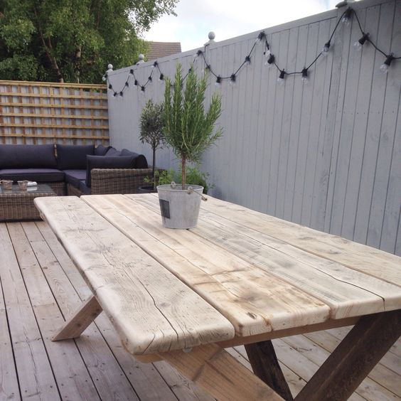 Wood Scaffold Boards : Table made from reclaimed wood and scaffold boards