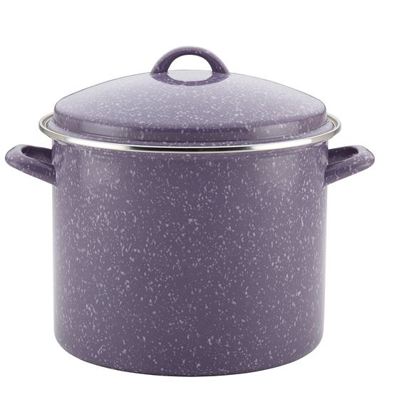 Single Piece Lavender Speckle 12-Quart Steel Covered Stockpot, Traditional Style, Aluminum Metal Material, Stain Resistant, Two Sturdy Side Handles, Hand Wash, Long-Lasting Stovetop ** Details can be found by clicking on the image.