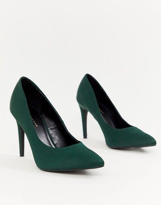 Look satin pointed pumps in dark green