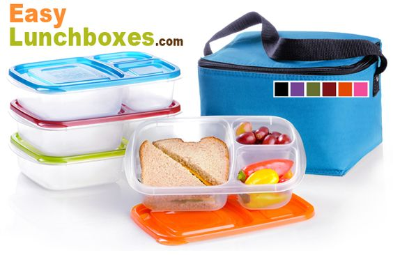 BPA-free, single-lid, 3-compartment, bento-style food containers, insulated coolers. Make healthy Lunchables for kids and adults. No lead. Waste-free.