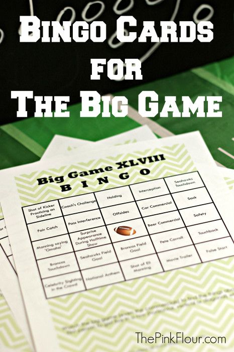 Bingo Cards for The Big Game - print out these free bingo cards to play during the football game on Sunday
