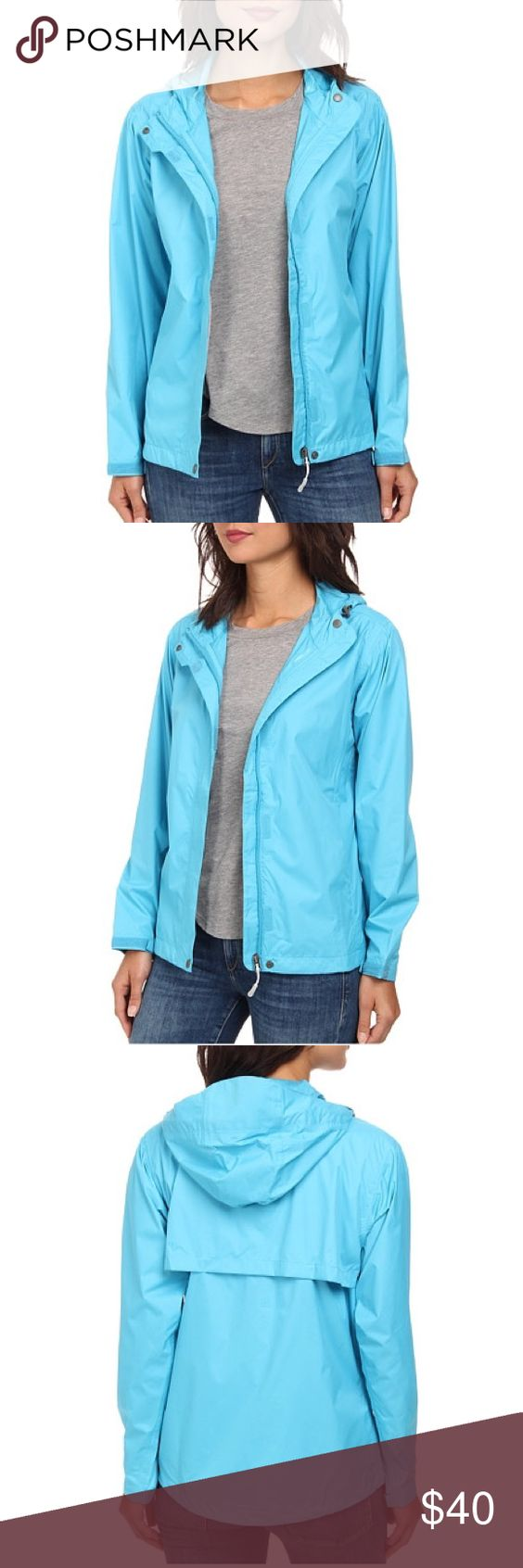Turquoise Hooded Packable Windbreaker Jacket NWT