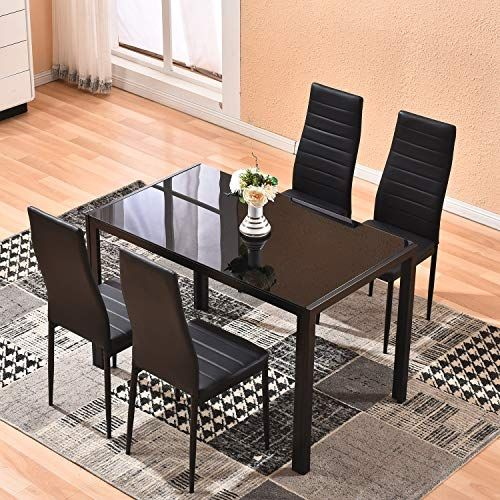 Dining Table With Chairs 4homart 5 Pcs Glass Dining Kitchen Table Set Modern Tempe Round Glass Dining Room Table Kitchen Table Settings Glass Dining Room Table