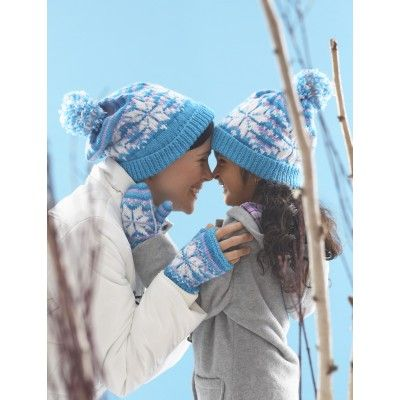 Snowflake Hat and Mittens - adult and childrens sizes Knitting pattern...