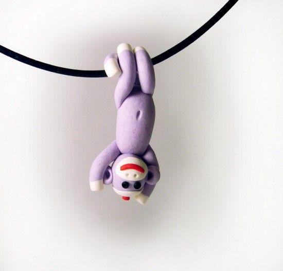 Clay sock monkey necklace