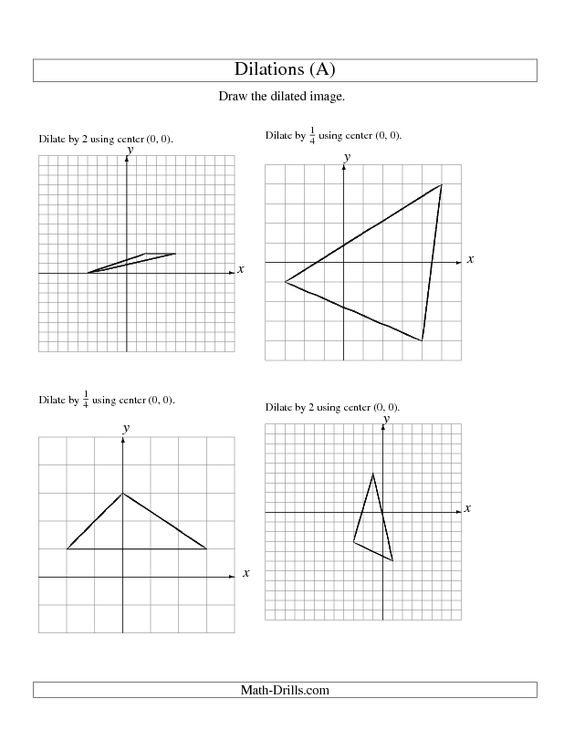 Printables Dilations Worksheet 8th Grade geometry worksheets and on pinterest worksheet dilations using center 0