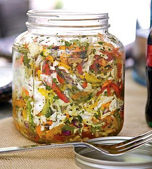 Bell Pepper Slaw // Place slaw mix, peppers, and tomatoes in a large glass jar with lid. Shake to combine; set aside.
