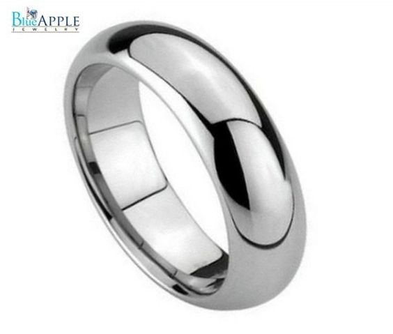 Polished Shiny Domed Ring 5mm His Hers Wedding Engagement Anniversary Unisex Tungsten Carbide Band Hypoallergenic Comfort Fit Plain Ring