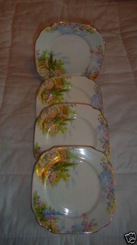 Royal-Albert-Kentish-Rockery4-Salad-Sandwich-Dessert-Plates-Collectible-Vintage