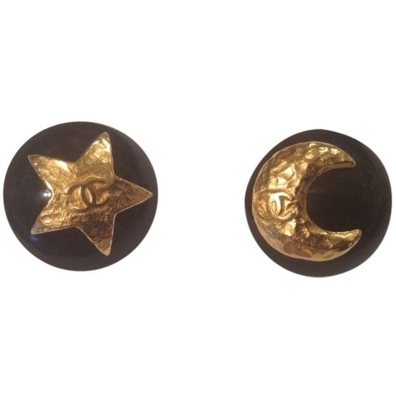 Pre-owned Rare Vintage Chanel '95p Clip Earrings ($500) ❤ liked on Polyvore featuring jewelry, earrings, accessories, black, clip on earrings, star earrings, clip back earrings, black jewelry and hammered earrings
