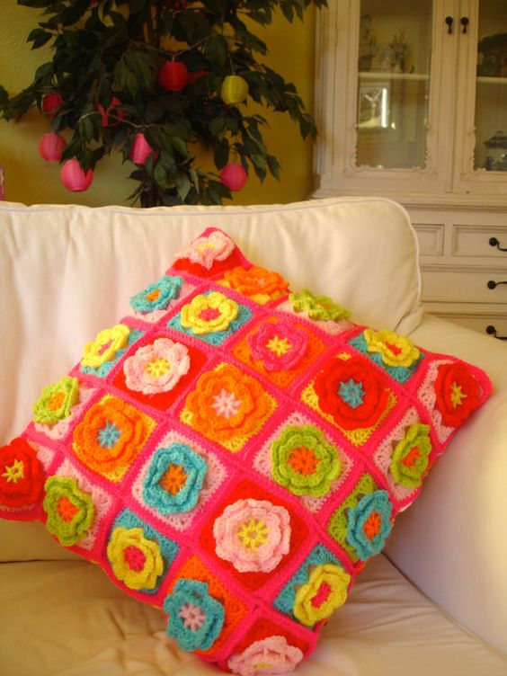 Crochet Cushion Flower Granny Squares by LillyBev on Etsy, £35.00