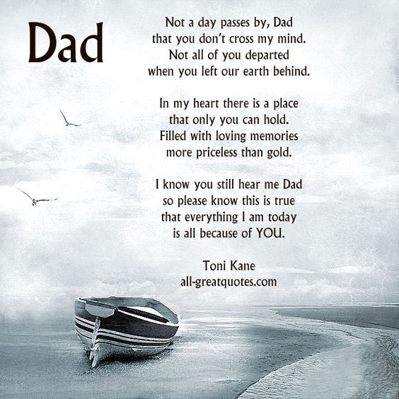 Not a day passes by, Dad that you don't cross my mind. Not all of you departed when you left our earth behind. In my heart there is a place that only you can hold. Filled with loving memories more priceless than gold. I know you still hear me Dad so please know this is true that everything I am today is all because of YOU. Toni Kane