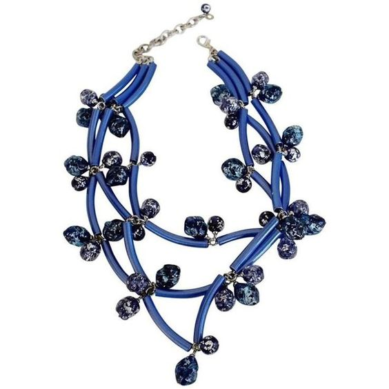 Francoise Montague Blue Elke Necklace ($590) ❤ liked on Polyvore featuring jewelry, necklaces, blue, vintage blue necklace, blue necklace, vintage jewelry, vintage necklaces and blue jewelry