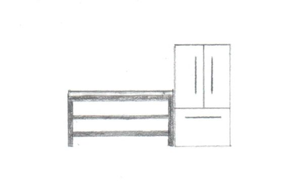 "Rough sketch of left side of kitchen - not to scale.  -1"" powder-coated steel frame -1"" wood top -2 open shelves with metal frame and inset wood"