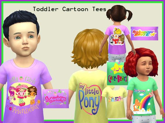 This is four iconic cartoon logo tee shirts for your toddler girls.  They come in pink, green, yellow and purple pastel colors each with a logo from Strawberry Shortcake and Friends, Rainbow Brite,...