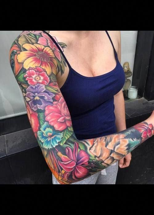 Pin By Finnandjake 2 On Tattoos Floral Tattoo Sleeve Colorful Sleeve Tattoos Colour Tattoo For Women