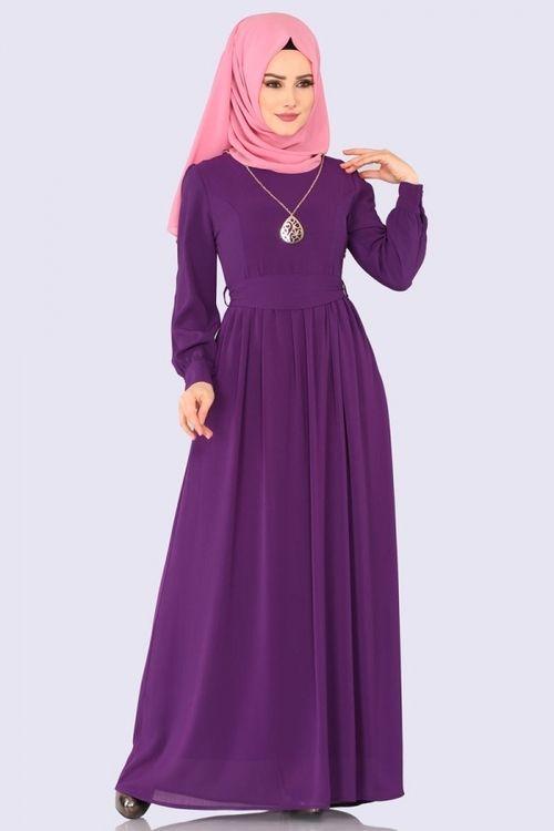 Modaselvim Elbise Kemerli Tesettur Elbise 3687 2mb205 Mor Fashion Fashion Dresses Abaya Dress