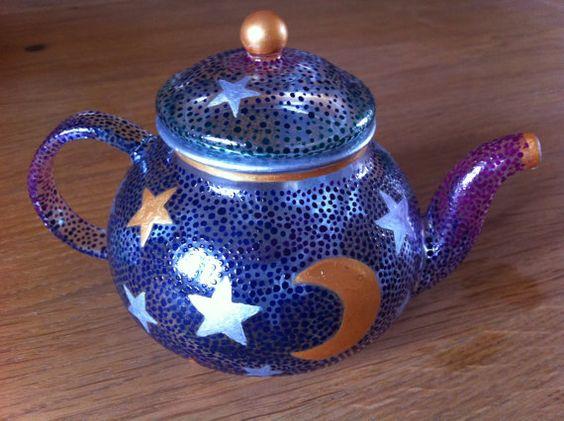 Beautiful MOON & STARS HandPainted Glass Teapot by JasperAndIndigo, £40.00