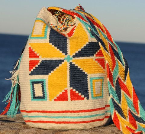 Mobolso - Wayuu Mochilas - Shoulder Bag: White, Blue, Yellow and Orange Star Design - For Women - Handmade - One of a Kind - 100% Cotton: