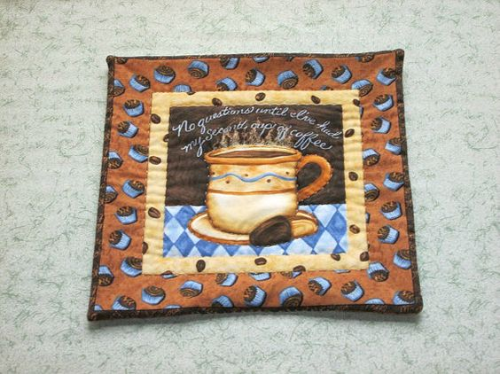 brown and blue coffee cup  table mat center piece by KjsKwilting