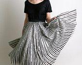 1950s Artegreen Skirt - Hand Painted Circus Striped Sequin Circle Skirt - Medium Carnival