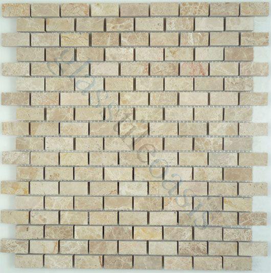 Tuscan Glass  Brick, Uniform Brick, Emperador, Polished, Cream/Beige, Stone