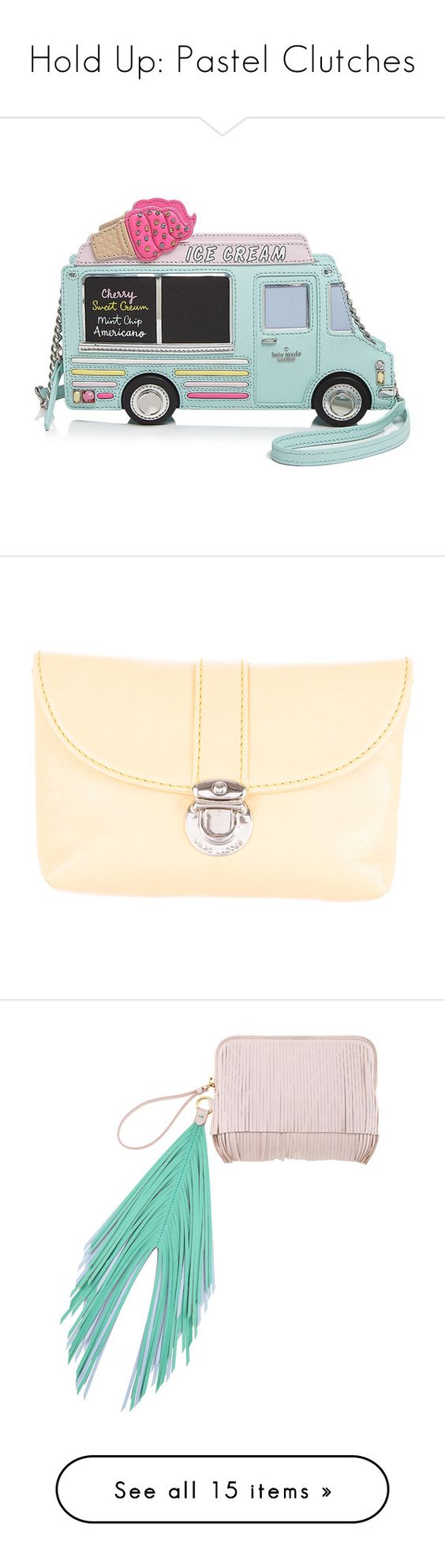 """Hold Up: Pastel Clutches"" by polyvore-editorial ❤ liked on Polyvore featuring pastelclutch, bags, handbags, clutches, multi, kate spade purses, kate spade handbag, green purse, kate spade clutches and cream purse"