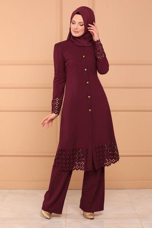 Modaselvim Kombin Lazer Kesim 2 Li Kombin 5006ay342 Bordo Muslim Fashion Dress Modest Dresses Muslim Fashion Outfits