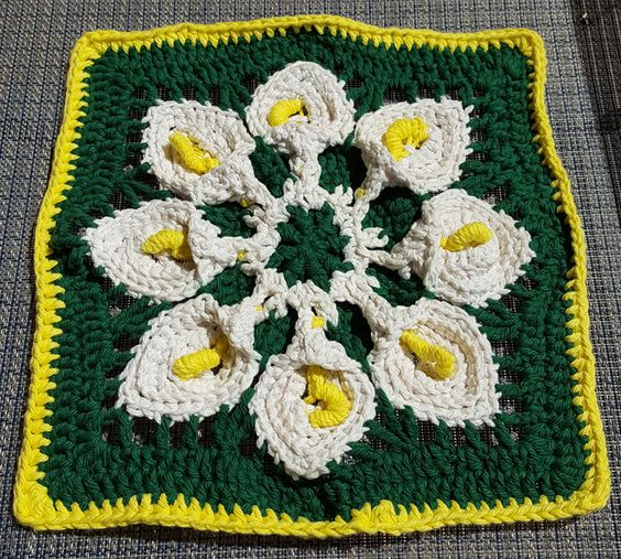 Calla Lilly Afghan block. Will use as a trivet.
