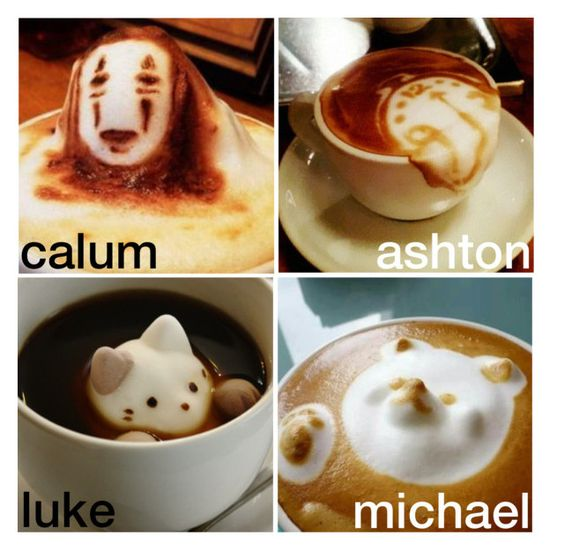 """the coffee design you both get ♡"" by official-5sos-fam ❤ liked on Polyvore featuring art and elliebonjellyspreferences"