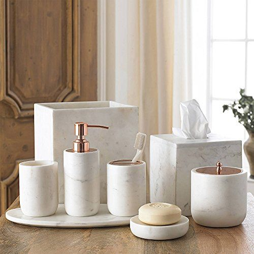 4 Piece Bath Accessory Set By Kassatex Pietra Marble Bath Accessories Lotion Dispenser Toothbrush Holder Tumbler Soap Dish Calacatta Marble Marble Bathroom Accessories Bathroom Accessories Copper Bathroom
