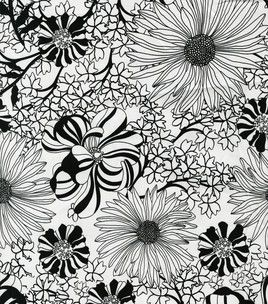 Daytime Drama- Large Flower Black & White Sateen & apparel fabric at Joann.com