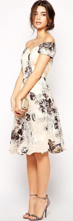 Chi Chi London Premium Oversize Mono Floral Midi Dress With Bardot Neck $99