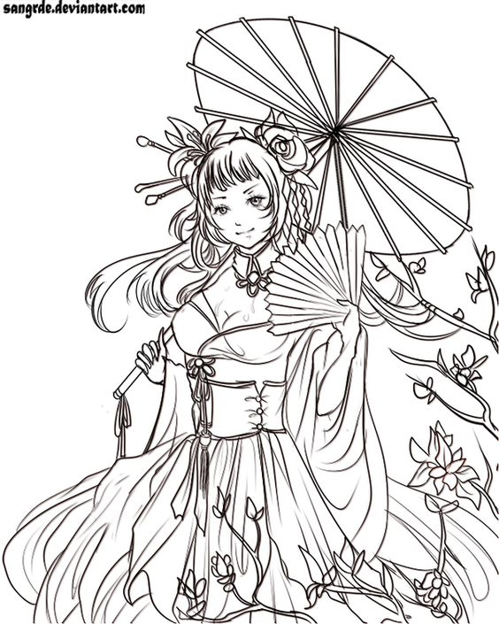 Kimono Lady line art by Sangrde.deviantart.com on @deviantART