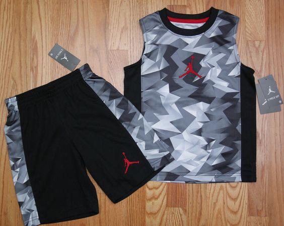 new style 79f41 4a502 ... Air Jordan Boy 2 Piece Tank Shorts Set ~ Gray, Black Red ~ Jumpman  Jordan ...